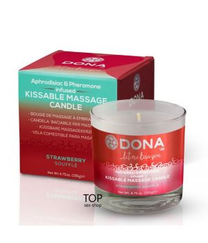 Массажная свеча DONA Kissable Massage Candle Strawberry Souffle